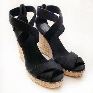 Tory Burch Adonis Black Espadrille Wedge Sandal